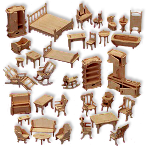 3 D Wooden Puzzle Large Set Of Dollhouse Furniture Affordable Gift For Your Little One Item