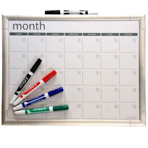 11x14 Magnetic Dry Erase Calendar - Sleek Silver - With 4